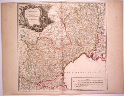 Carte: «Gouvernement général du LANGUEDOC divisé par Diocèses, avec les pays voisins...
