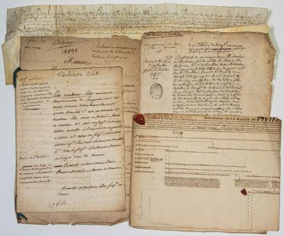 Famille de NARBONNE-PELET. 7 pièces manuscrites,...