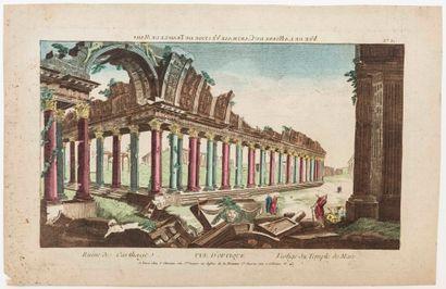 TUNISIE. «Vue de la Ruine de CARTHAGE. Vestige du temple de Mars.» Vue d'Optique...