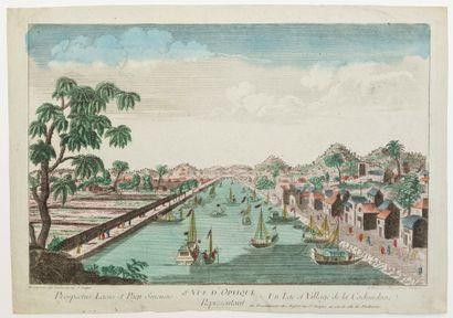 COCHINCHINE. «18e vue d'Optique représentant un lac et Village de Cochinchine» à...