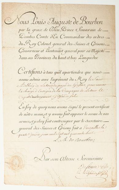RÉGIMENTS SUISSES. Pièce signée Louis Auguste de BOURBON (1700-1755), «Prince Souverain...