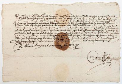 CARPENTRAS (Vaucluse) 1609. Ordre du vicaire...