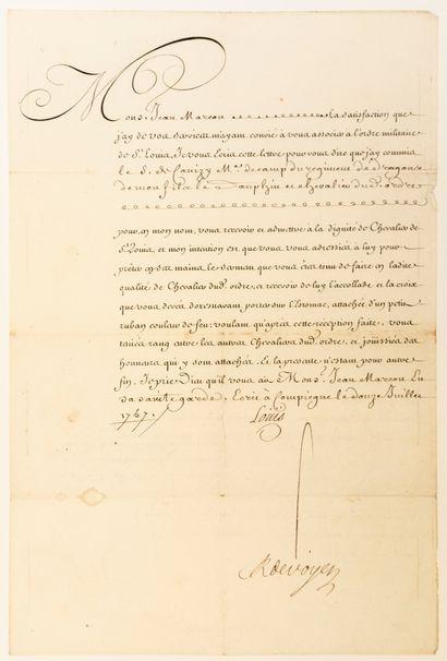 ORDRE DE SAINT LOUIS. 1757. OISE. Lettre Royale d'admission à la dignité de Chevalier...