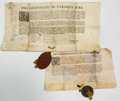 MEURTHE ET MOSELLE. 1750. UNIVERSITÉ DE PONT-A-MOUSSON. Deux Diplômes de Baccalauréat...