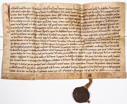 LORRAINE. MEUSE. Rare Charte de Janvier 1247,...