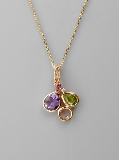 Pink gold chain and pendant, 750 MM, set with a pear-cut amethyst weighing approximately...