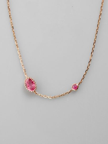 Bracelet ligne en or rose, 750 MM, ponctué...