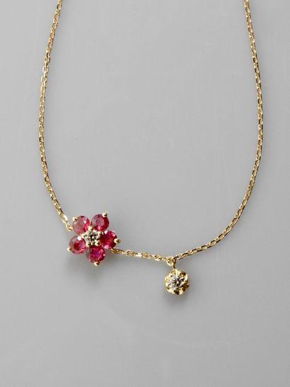 Bracelet en or rose, 750 MM, centrée d'une...
