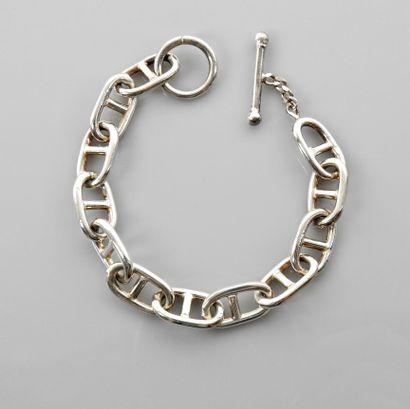 Bracelet en , argent 925 MM, maille marine, fermoir type Ancre, longueur 20 cm,...