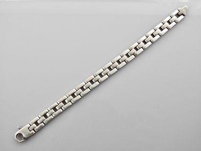 Bracelet d'homme en , argent 925 MM, longueur 19 cm, poids : 28,2gr. brut.