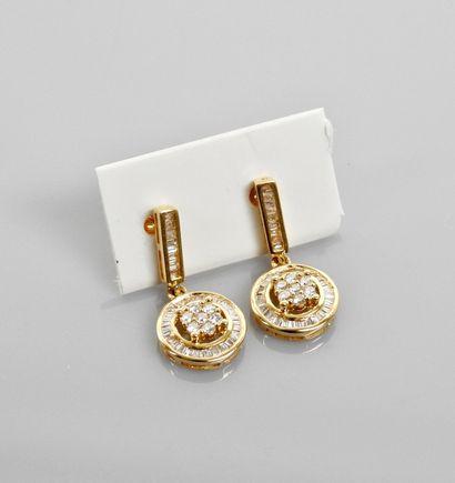 Pendants d'oreilles en or gris, 750 MM, ornés...