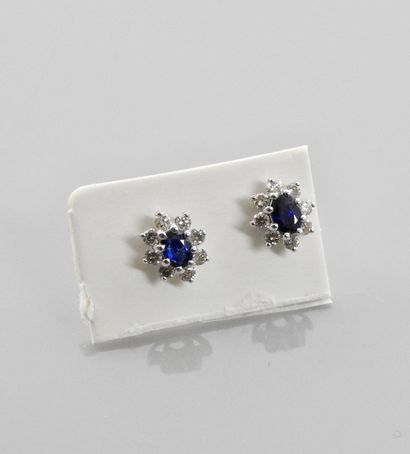 Earrings drawing a white gold fleur-de-lys, 750 MM, each centered with a sapphire...