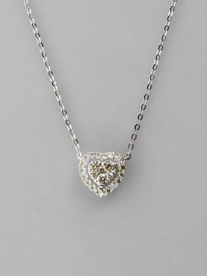 Chaîne et pendentif ' Coeur ' en or gris,...
