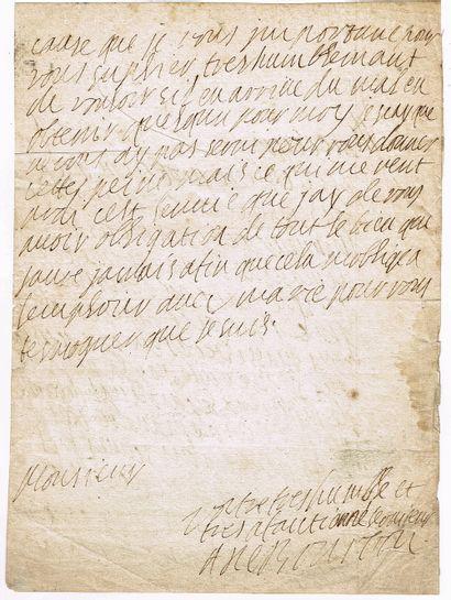 4 - Anne de BOURBON-BUSSET (1595-1641). Lettre...
