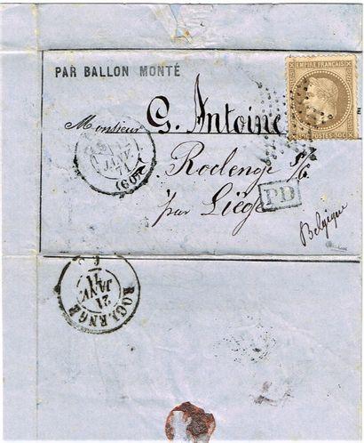 22 - BALLON MONTÉ. 12 janvier 1871. «Général...