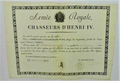 12 - ARMÉE ROYALE. CHASSEURS D'HENRI IV....