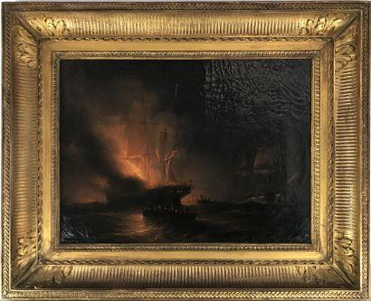 Léon MOREL-FATIO (1810-1871)  Sauvetage du brick américain Ontario, 1835 Huile sur...