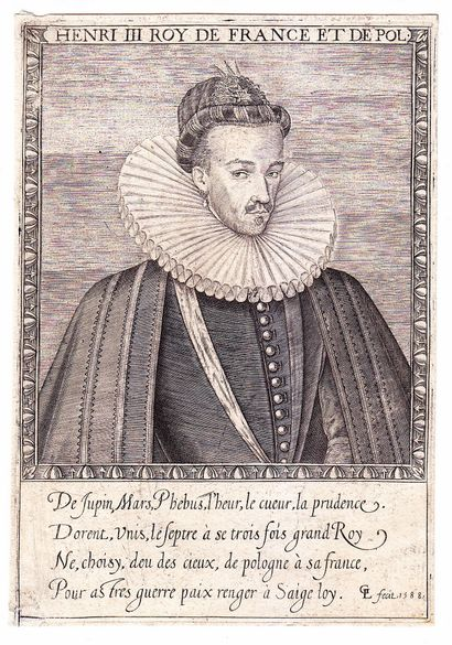 Gravure de 1588 «HENRI III Roy de FRANCE...