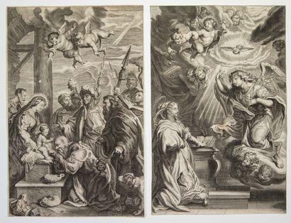 RELIGION. 2 Gravures XVIIe: L'Annonciation...