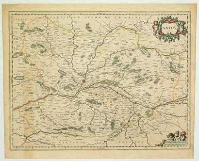 Carte XVIIe s, DE L'ANJOU. Circa 1650. (48...