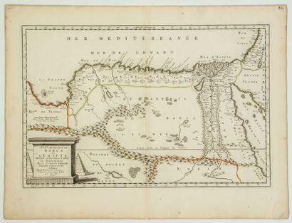 ÉGYPTE, LYBIE. Carte de 1655: «Royaume...