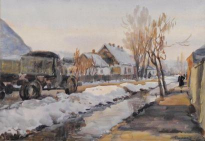 H. Bukeel  Ruelle sous la neige, 1959  Gouache...