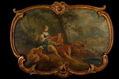 Ecole française du XVIII° siècle  Scène galante...