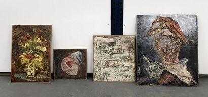 Hans Haber  Lot de quatre huile sur panneaux...