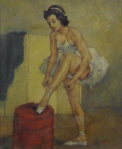 César Vilal Jeune danseuse Huile sur toile...
