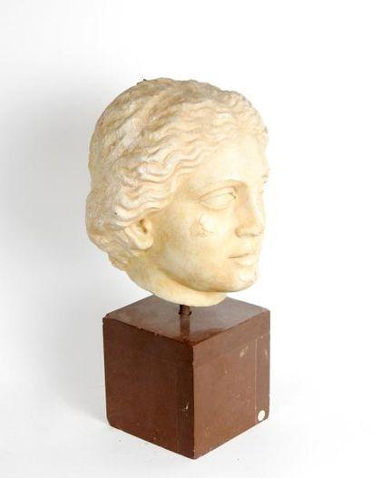 Tête féminine en marbre patiné de type hellénistique...