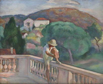 Henri Lebasque (1865-1937)  Pierre Lebasque sur la balustrade a? Saint Tropez, 1920...
