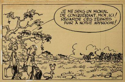 FRANQUIN ANDRÉ Spirou et Fantasio La Corne de rhinoceros Planche marquée 21 appartenant...