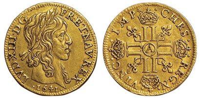 Louis XIII. Louis d'or mèche longue 1641...