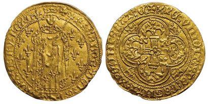 Charles VII. Royal d'or. Chinon. A/ + KAROLVSxDEIxGRA...