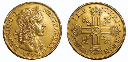 Louis XIII. Quatre Louis 1640 A. Paris. A/ LVD.XIII.D.G.FR.ET.NAV.REX. La tête laurée...