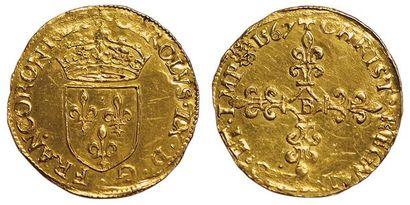 Charles IX. 1560-1574. Ecu d'or au soleil1567...