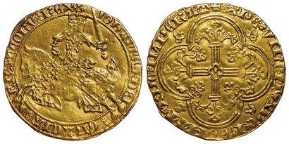 Jean II le Bon. Franc à cheval. A/ IOHANNES:DEI:GRACIA:FRANCORV:REX....