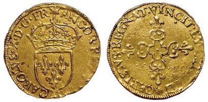 Charles X. 1589-1590. Ecu d'or au soleil...