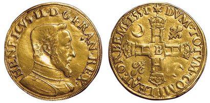 Henri II. Double Henri d'or 1551 B. Rouen....