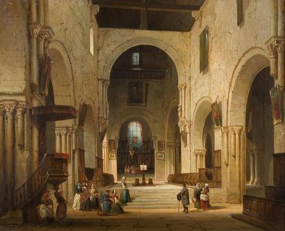 Auguste MATHIEU (1810-1864) Intérieur d'église...