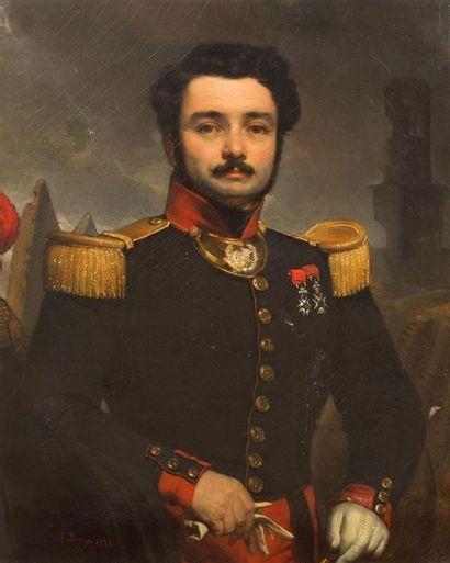 Joseph Nicolas JOUY (1809-?) Portrait d'officier...