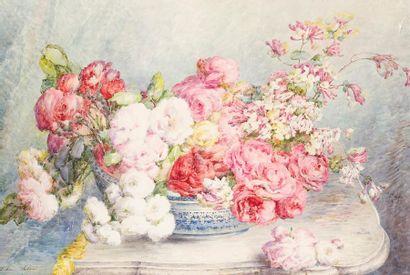 Céline SALARD Roses Aquarelle, signée en...