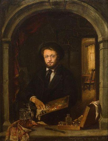 Paul MERWART (1855-1902) Autoportrait Huile...