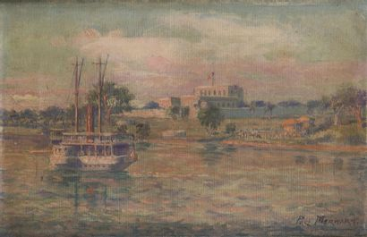 Paul MERWART (1855-1902) Bâteau à vapeur...
