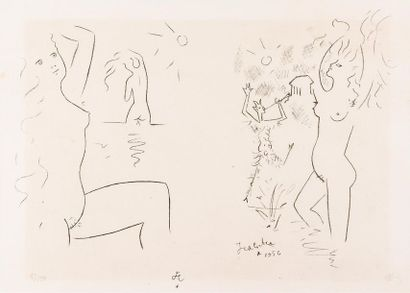 Jean COCTEAU (1889-1963) Baigneuses. 1956...