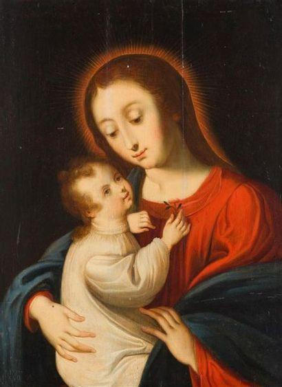 ECOLE ANVERSOISE DU XVIIème SIECLE Vierge...