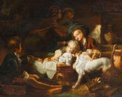 ECOLE DU XIXème SIECLE Enfants et chiens...