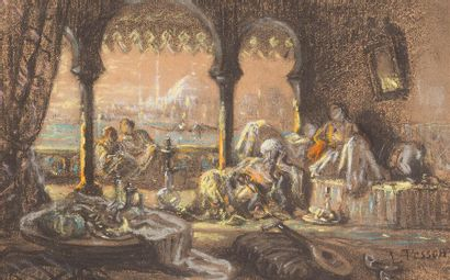 LOUIS TESSON (1820-1870) Scène orientale,...