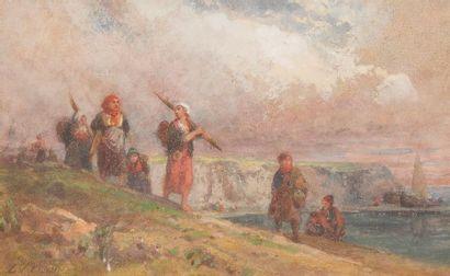 LOUIS TESSON (1820-1870) Retour de pêche...