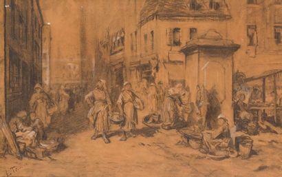 LOUIS TESSON (1820-1870) Scène de marché...